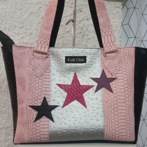 sac etoiles rose noir