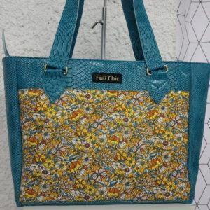sac turquoise fleurs