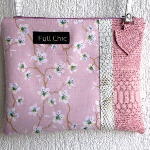 pochette rose fleurs amandier
