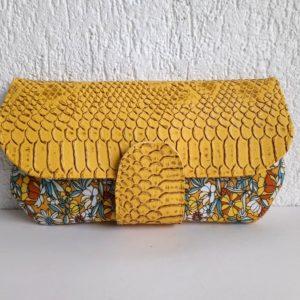 portefeuille s jaune fleurs
