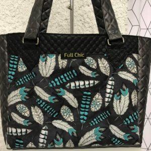 sac gris noir plume